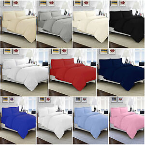 Details About 100 Egyptian Cotton Duvet Quilt Cover Set Single Double King Size Bed Sheets