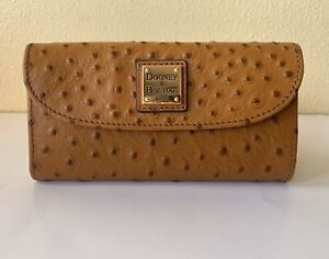 Dooney /& Bourke Tan Ostrich Leather Continental Clutch Wallet NWT $138
