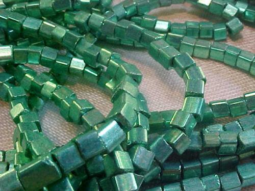 Vtg 6 strands apprx 1000+ beads METALLIC AQUA SQUARE GLASS SEED BEADS #082413v