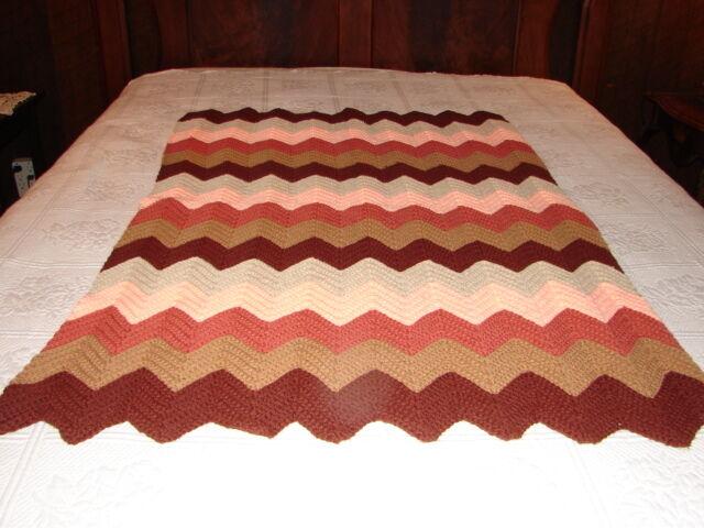 NEW Handcrafted Crochet Afghan Throw Blanket  Zig Zag Pattern  very nice
