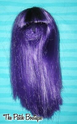 MONSTER HIGH CAM CREATE A MONSTER MUMMY DOLL REPLACEMENT PURPLE LONG WIG BANGS