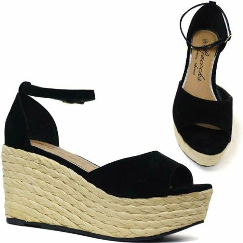 LADIES WOMENS NEW MID WEDGE ESPADRILLE PLATFORM SUMMER OPEN TOE SANDLE SHOES 3-8