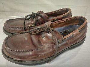 Details About Nautica Men Size 8 5 Brown Leather Boat Shoes Non Slipping Non Marking