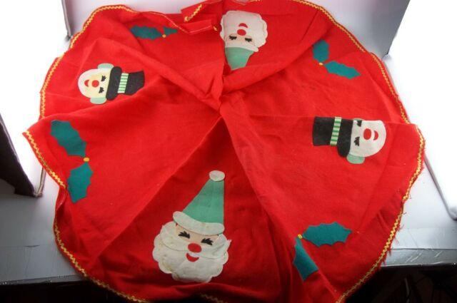 "Vintage Christmas Tree Skirt, 36"" Handmade, Santa Claus ..."