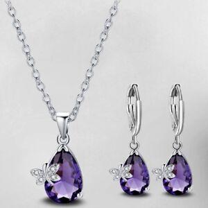 Jewelry-Set-Butterfly-Mystical-Purple-Amethyst-Gemstone-Silver-Pendant-Earrings
