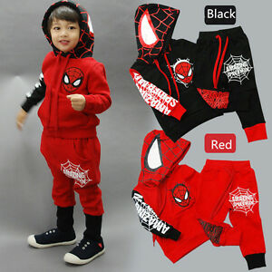 2pcs Baby Boys Clothes Kids Spiderman Hoodie Top Pants Sets Outfits