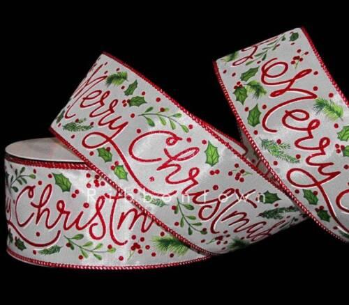 "environ 9.14 m 10 Yd Joyeux Noël Brillant Rouge HOLLY BAIES blanc filaire ruban 2 1//2/"" W"