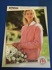 Patons Tumble Dry Women's Eylet Yoke Cardigan Knitting Pattern 4097