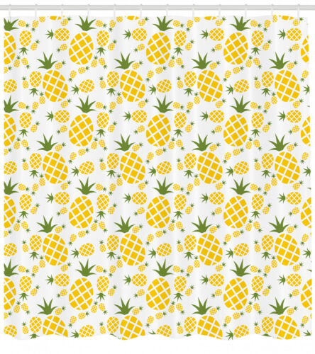 Pineapple Shower Curtain Fabric Bathroom Decor Set with Hooks 4 Sizes Available