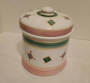 Caleca-Hand-Painted-pottery-Pink-amp-green-Cookie-Jar-Canister-Made-in-Italy