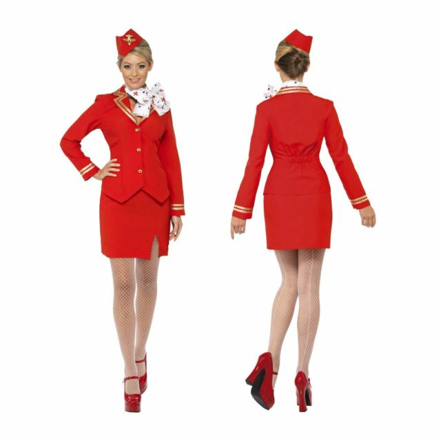 4c6fca0a5ce Red Trolley Dolly Virgin Air Hostess Stewardess Cabin Crew Fancy Dress  Costume Extra Large Size 20-22