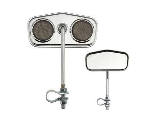 PAIR  CHROME REAR VIEW BICYCLE V CLUB MIRRORS  W// CLEAR REFLECTORS