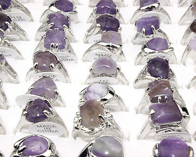100pcs Wholesale Lots Assorted Crystal Amethyst Gemstone Silver Plated Ring FREE
