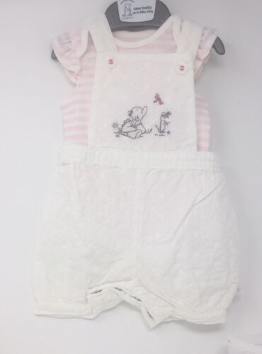 HALF PRICE Beautiful Baby 2 Piece Summer Dungaree with stripy body NEW!