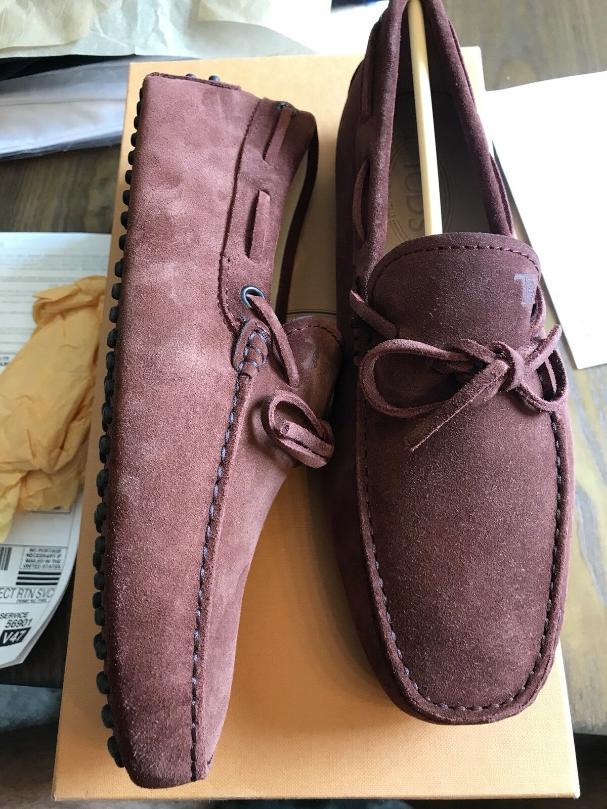 New Authentic Tod's Moccasin Driver Loafer Uomo Maroon Scarpe 7.5 7.5 7.5  495 8418d6