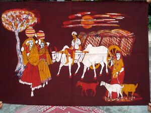 Tenture-indienne-Batik-Village-indien-Marron-Tissu-Coton-Boho-Art-Decor-Inde
