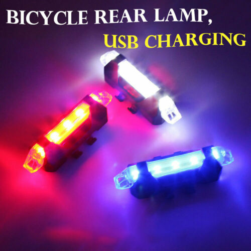 5 LED USB Rechargeable Bike Tail Cycling Warning Rear Lamp Lights Bicycle Safety