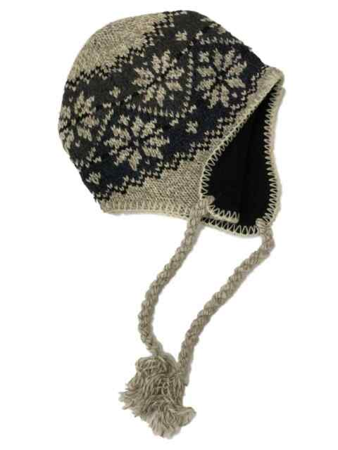 Mens Tan   Blue Eco Raggs Peruvian Style Wool Blend Trapper Hat Fleece Lined f6b60c1d49d9