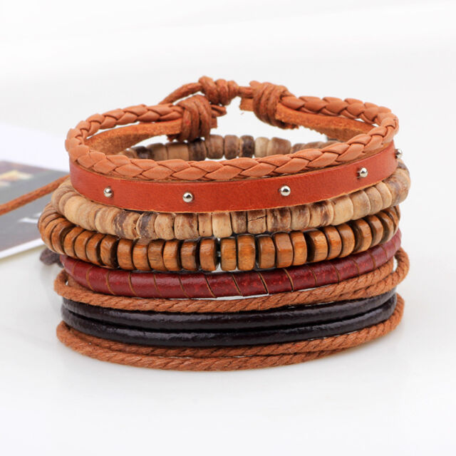 Men's Infinity Braided Leather Stainless Steel Cuff Bangle Bracelet Wristband