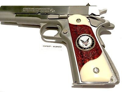 FITS COLT,WILSON,SIG,SPRINGFIELD,REMINGTON,PARA,S /& W,RUGER,TAURUS,ARMSCORP,CLONES GENUINE 1934 BUFFALO NICKELS FITTED IN BURLED COCOBOLO MADE IN U.S.A. 1911 GRIPS.SALE $41.73