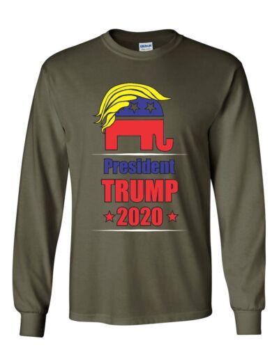 President Trump 2020 Women/'s Long Sleeve Tee Funny GOP Elephant with Trump Hair