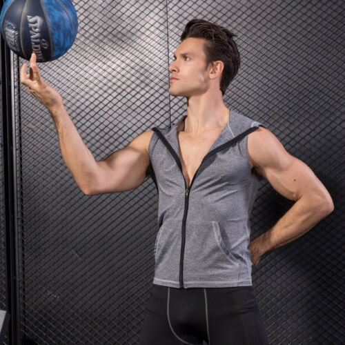 Men/'s Gym Workout Basketball Hooded Tank Tops Dri-fit Vests with Pockets Zip up