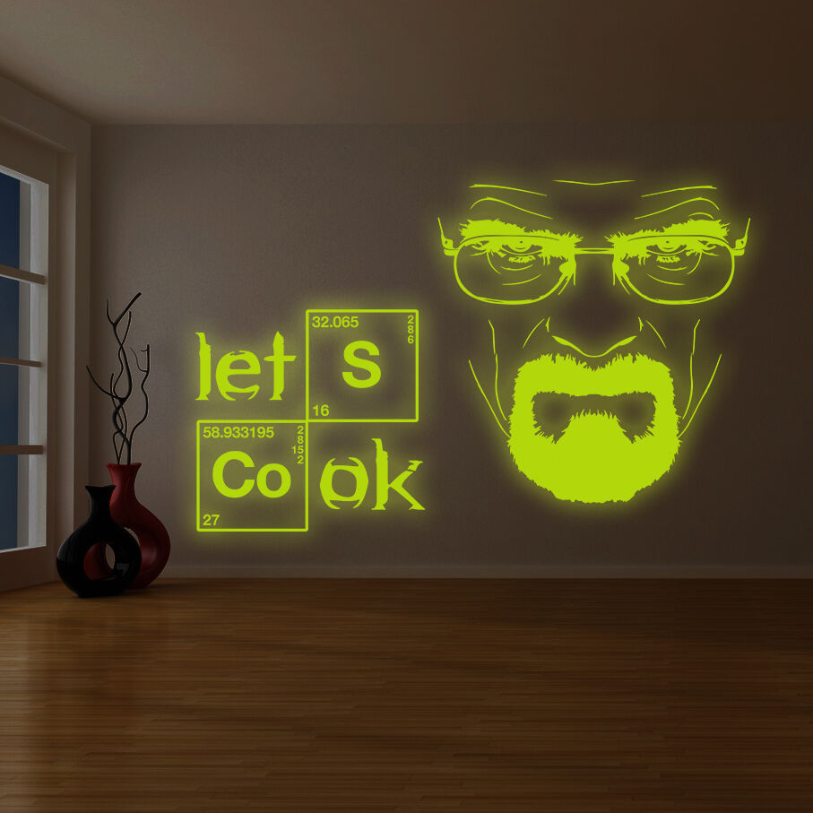Breaking bad wall stickers wall murals ideas glowing vinyl wall decal breaking bad heisenberg quote lets cook amipublicfo Choice Image