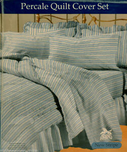 Blue-Stripe-QUEEN-Q-QUILT-COVER-DOONA-DUVET-SET-2PILLOWCASES-PolyCotton-NEW