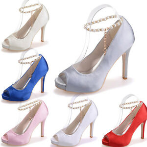 satin open peep toe womens high heels pumps wedding
