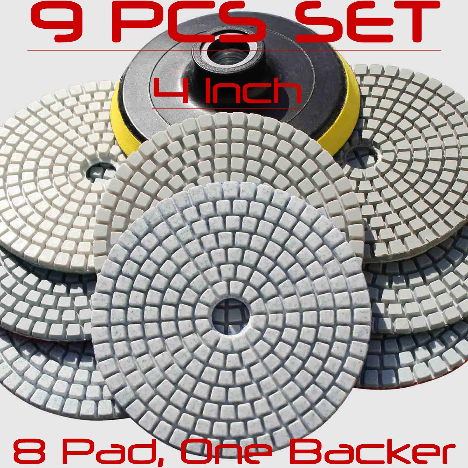 """19//20PCS Wet//Dry Diamond Polish Pads 4/"""" Kit For Granite Concrete Marble Polish"""