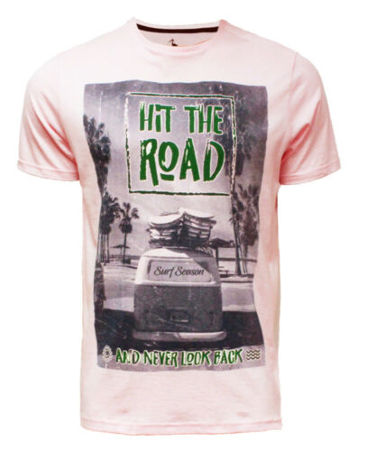 Mens T-Shirt South Shore Short Sleeved Print T-shirt Cotton Tee Top HIT THE ROAD