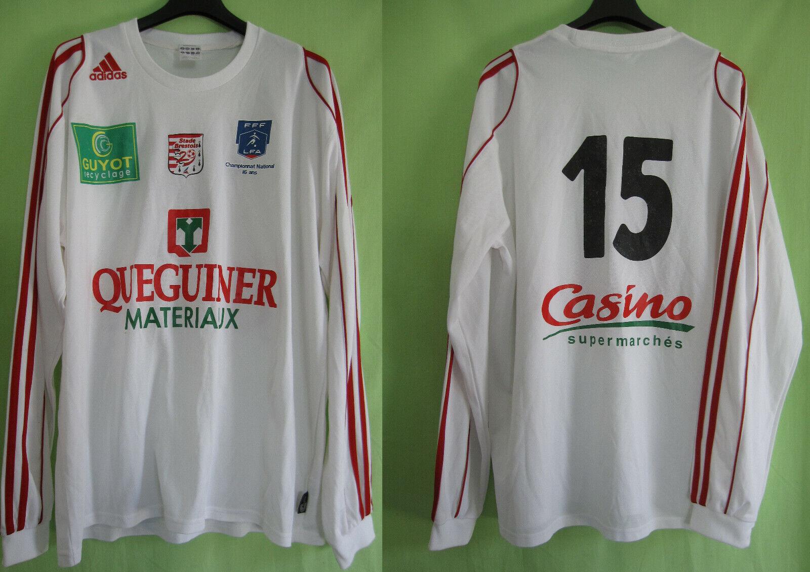 Maillot Brest Adidas championnat Nationnal Porté  15 Stade Brestois  XL