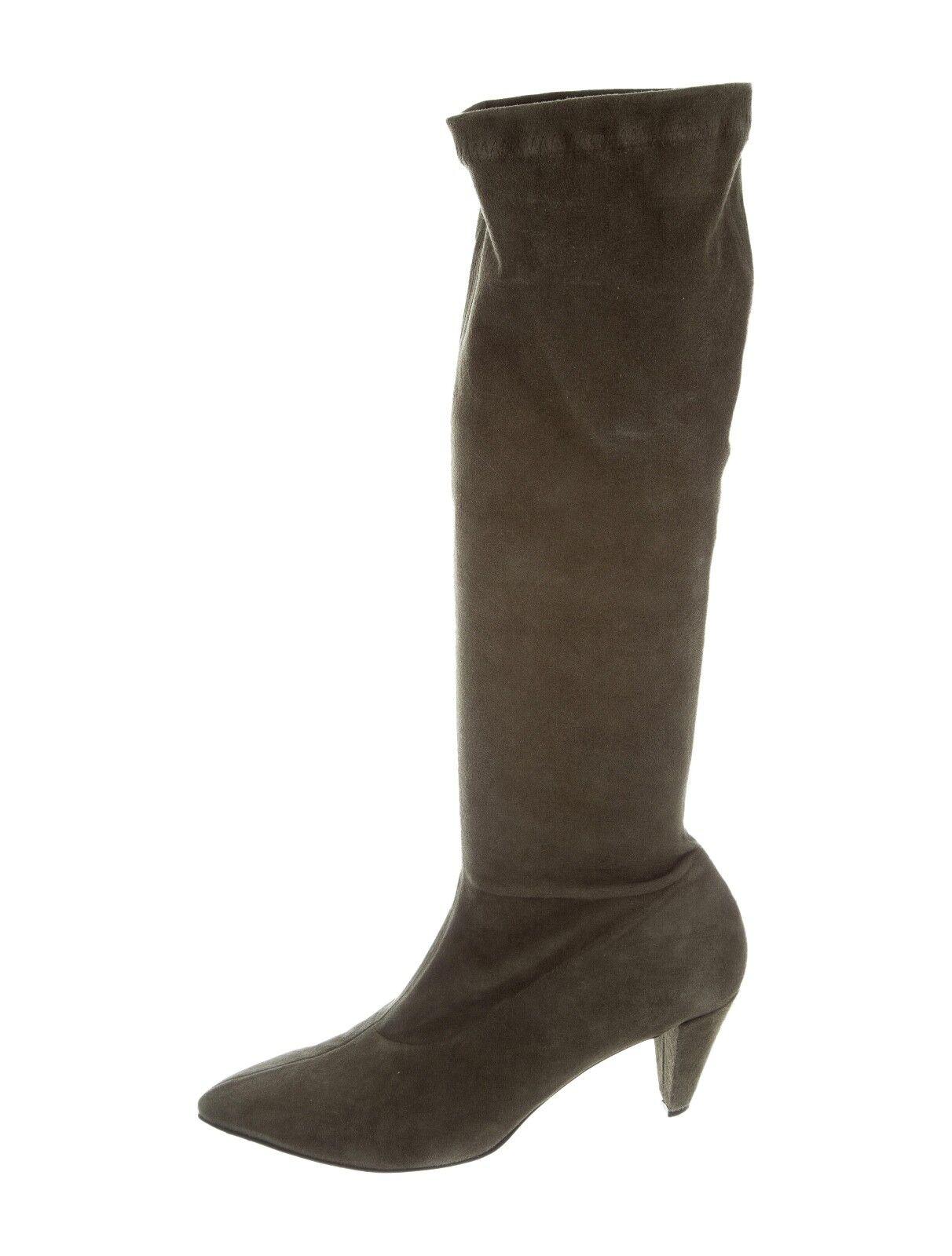 Robert Clergerie Suede Knee High Boots 7 Green Grey Heel