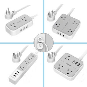 Multi Outlets Power Strip with 3 USB Ports 5ft Extension Cord Switch /& Flat Plug