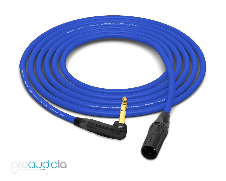 Mogami 2549 Cable Neutrik Gold XLR-Male to 90º TRS Blau 40 Feet 40 ft