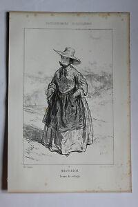 GAVARNI-Lithographie-originale-serie-PHYSIONOMIES-PARISIENNES-BOURGEOISE-FEMME