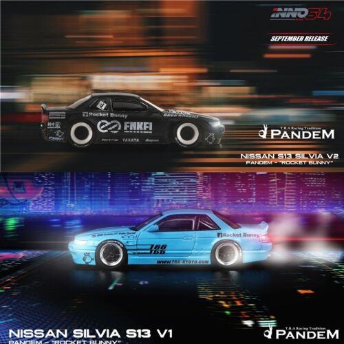 INNO 1:64 Nissan Silvia S13 Rocket Bunny V1 Light Blue//V2 Matte Black Model Car