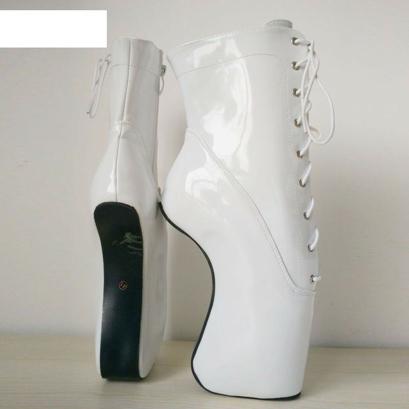 Weiß PVC Ankle High PONY Ballet boot, Stiefel, high heals, sexy boot, Ballet corset 46afaa