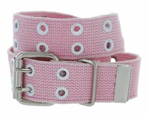 "Hagora Unisex 1.5"" Wide Canvas Webbing 2 Hole Rows Silver Roller Buckle Belt"