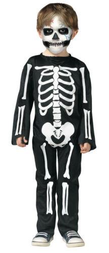 Ragazzi Skeleton Nero Bianco Tuta Halloween Costume Vestito 3-4yrs