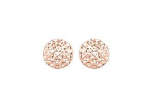 52cde5d50 9ct Rose Gold Diamond Cut Pyramid Button Stud Earrings New | eBay