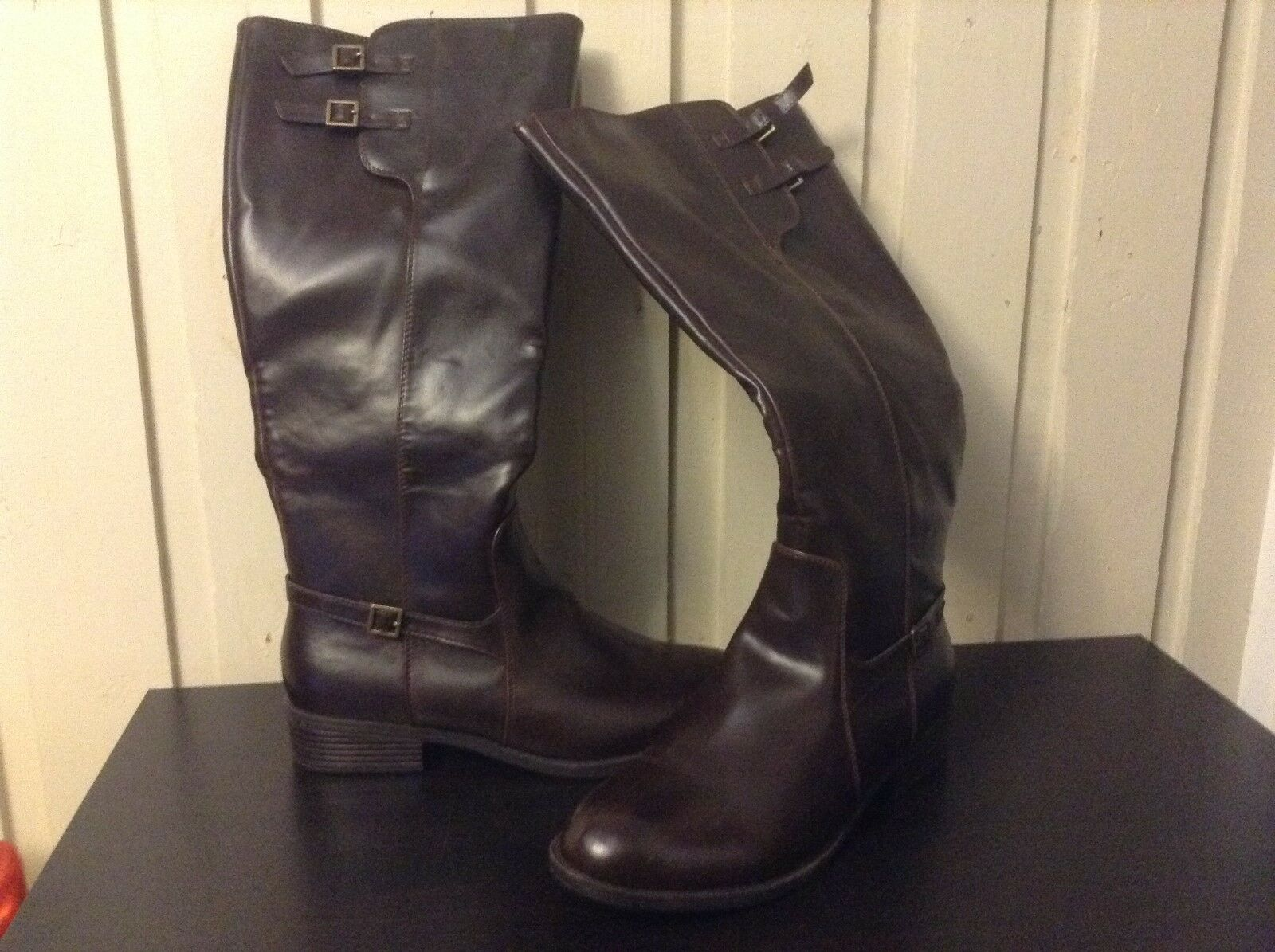 Brown Riding Boots Chunky Block Heel Size 11