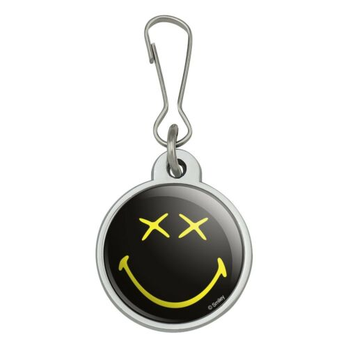 Smiley Smile Dead Happy Black Yellow Face Jacket Handbag Purse Zipper Pull Charm