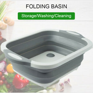 Grey-Collapsible-Basin-Bucket-Set-Folding-Camping-Caravan-Space-Saver-Wash