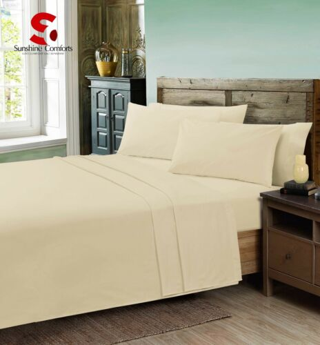 Poly-Cotton Percale Flat  Bed Sheet Plain Dyed Single Double King Pillowcases