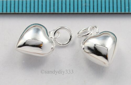 10x BRIGHT STERLING SILVER DANDLE PUFF HEART CHARM PENDANT 10mm N434A