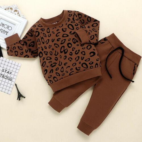 Infant Kids Baby Set Boys Leopard Print T-Shirt Sweater Coat Tops+Pants Outfits