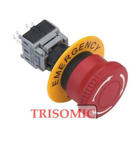 16mm Mounting Plastic Emergency Stop Switch Push Lock //Retate Release UL