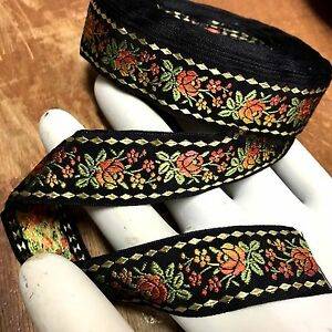 VINTAGE-Embroidered-Silk-JACQUARD-1-034-TRIM-Made-in-France-RIBBON-1yd