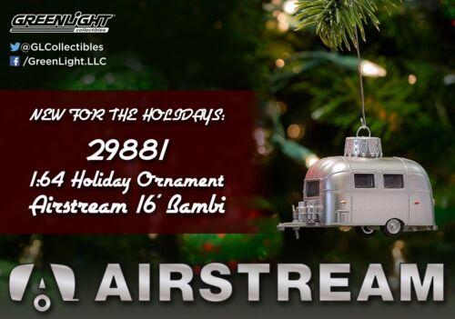 1:64 GreenLight *SILVER* Airstream 16/' Bambi Camper *2016 HOLIDAY ORNAMEMTS* NIP